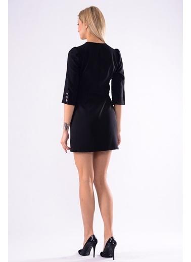 İroni Kruvaze Ceket Elbise Siyah